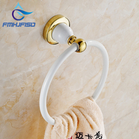 Free Shipping Wholesale And Retail Promotion Golden Brass Bathroom White Painting Towel Rack Holder Round Towel