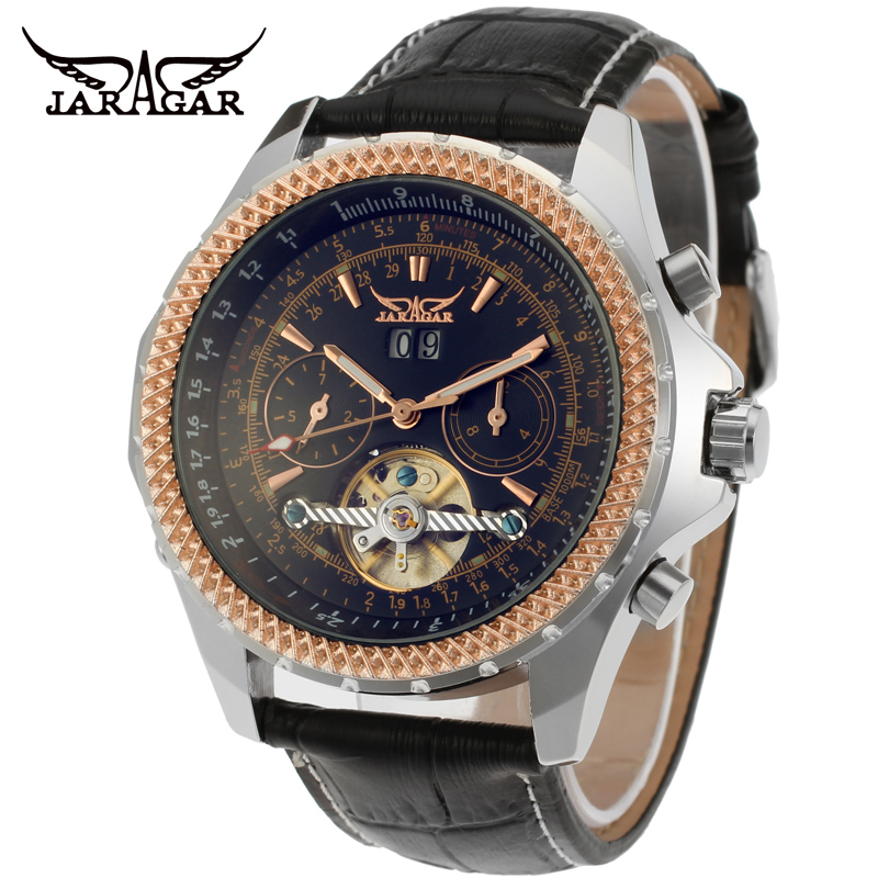 ФОТО Fashion JARAGAR Men Luxury Brand Watch Sports Leather Band Watches Tourbillion Automatic Mechanical Wristwatch Gift Box 2016 New