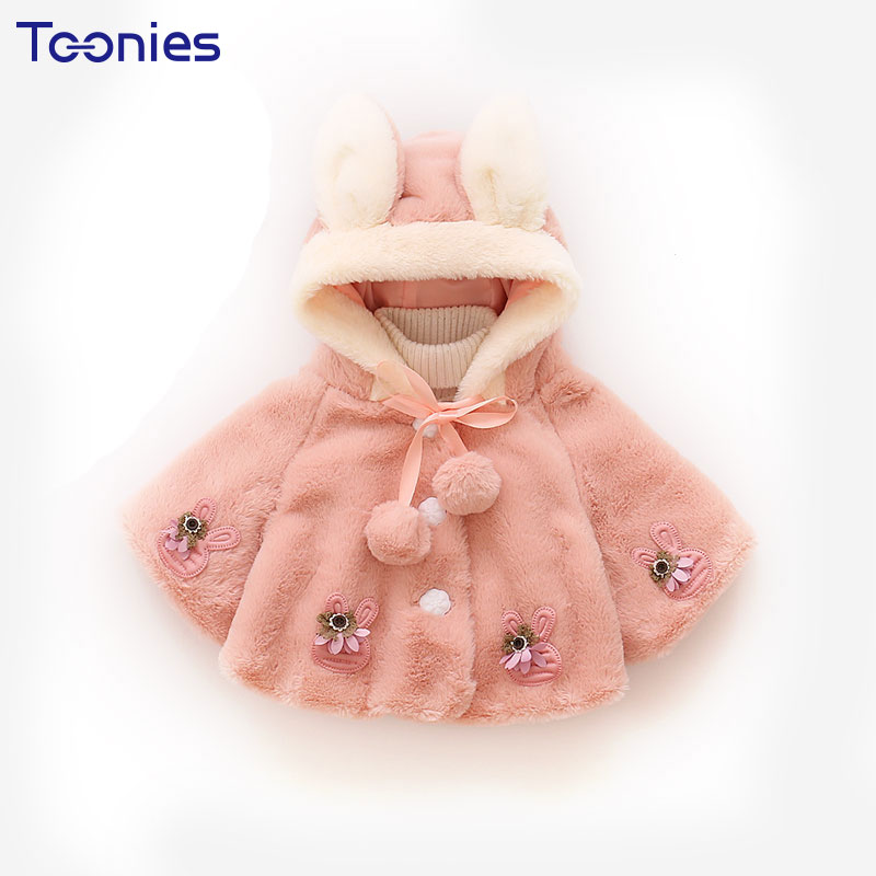 Lovely Winter Jackets Girls Fur Ball Flower Girls Coat Baby Hooded Long Sleeve Girl Clothing Bunny Carton Cotton Kids Jacket 2017 ukraine exclusive custom winter coat magic cloth dolls and original sweet bunny ears hooded casual loose lovely cotton