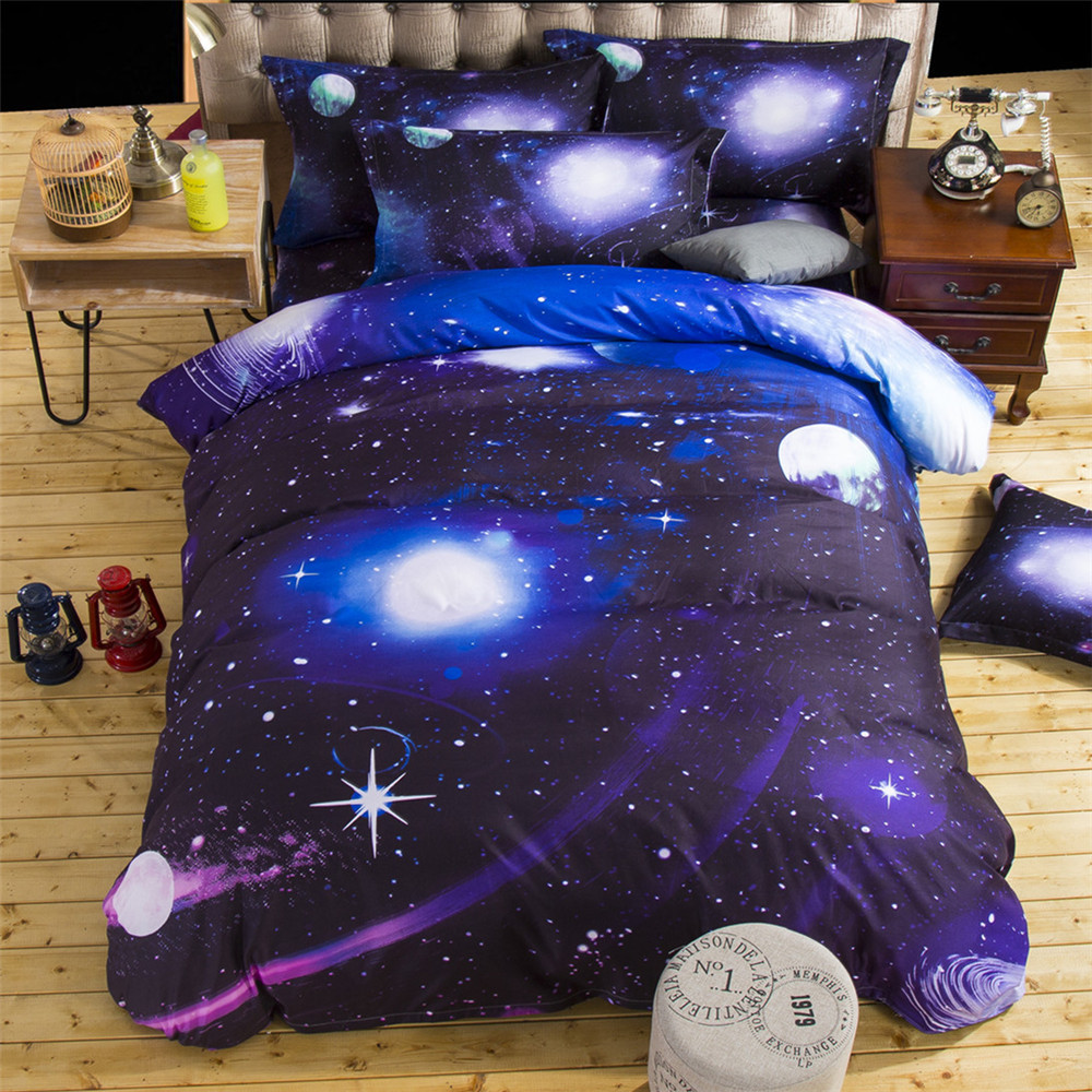 17 3D Bedding Sets Universe Outer Space Blue Galaxy New 4/3pcs Quilt Duvet Cover Bed Sheet Sell Pillowcase Twin Queen XK003 6
