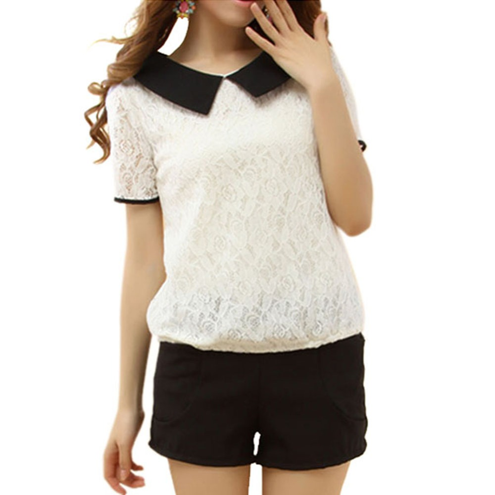 b5192870735 2017 Korea Style Summer Women Girl Lace Lapel Short Sleeve Blouse Tops  Loose Peter Pan Collar Back Bowknot Shirt S-XXL