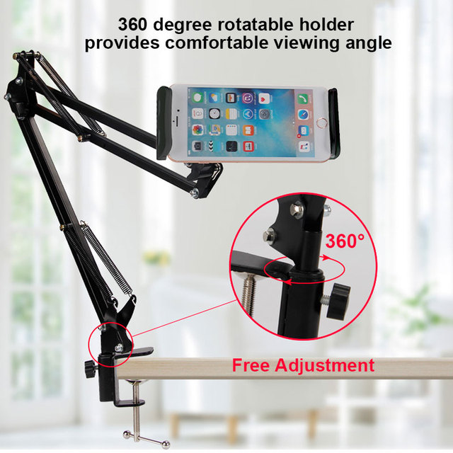 6 to 11inch Mobile phone Tablet Holder Stand For iPad Mini Air Samsung 360 Degree Long Arm Lazy Bed Desk Tablet Mount Support 3