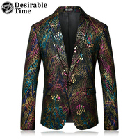 Mens Colorful Printed Blazer Jacket Stage Wear 2017 Autumn New Brand Clothing Casual Blazers for Men DT056