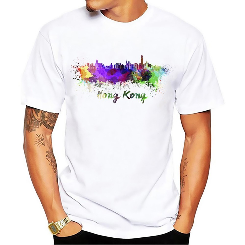 China <font><b>hong</b></font> <font><b>kong</b></font> watercolor city landmark skyline <font><b>tshirt</b></font> men 2018 summer new white short sleeve casual homme cool t shirt image