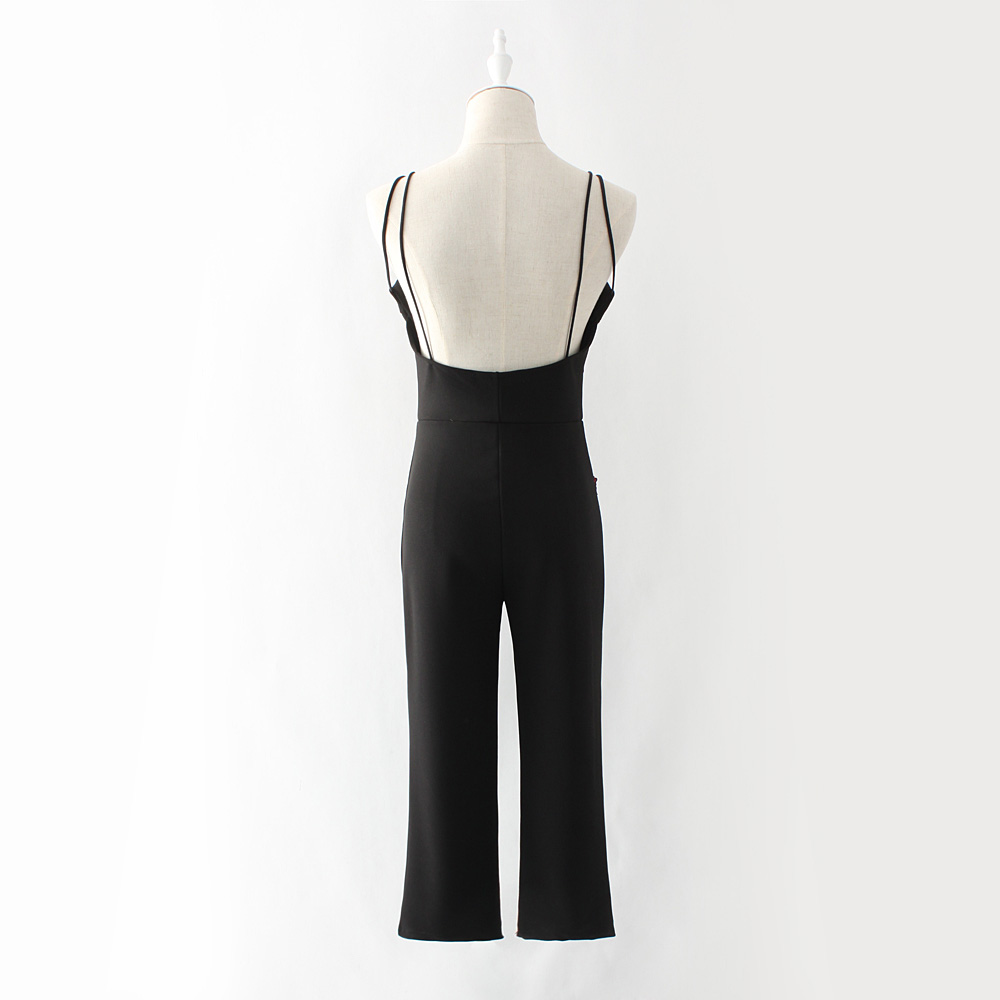 2017 women backless elegant black strap jumpsuit romper sexy Hollow out embroidery playsuit for women deep v overalls