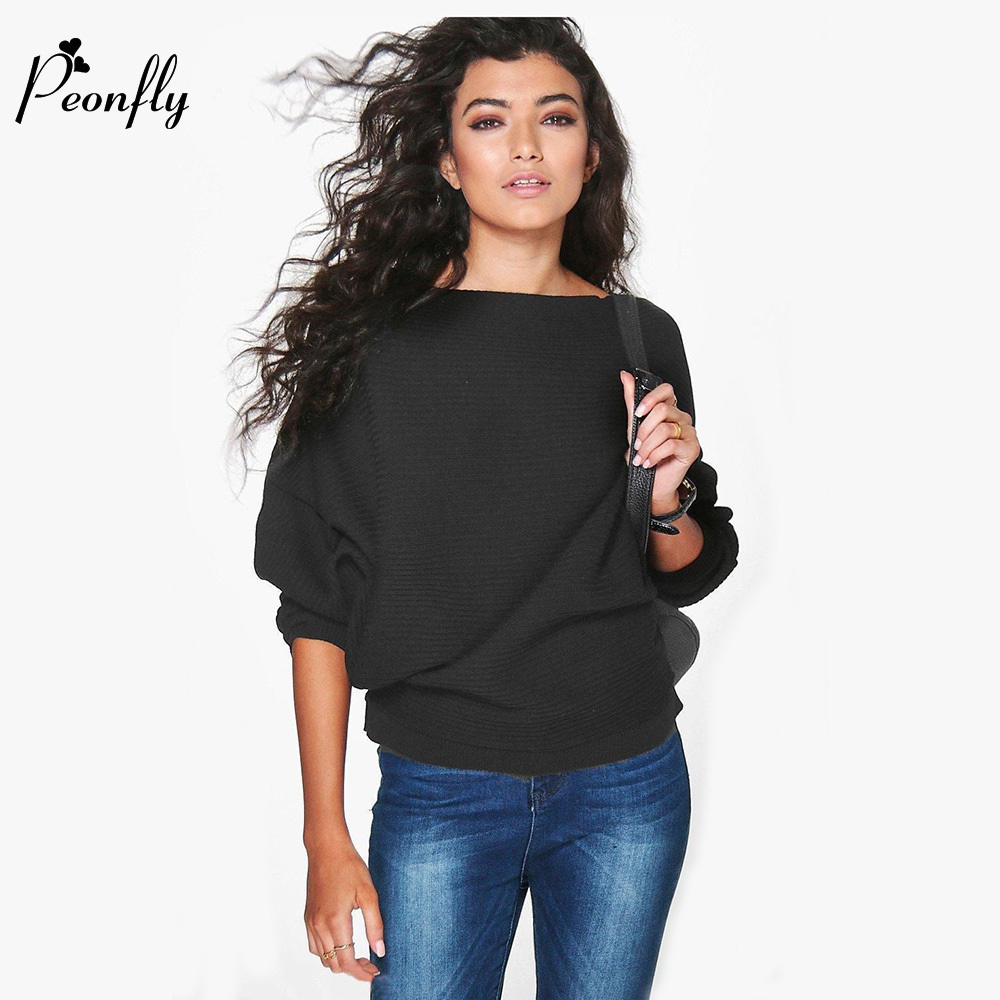 PEONFLY 2018 women Autumn winter fashion sweaters solid long-sleeve knitted pullovers Batwing sleeve casual cloth