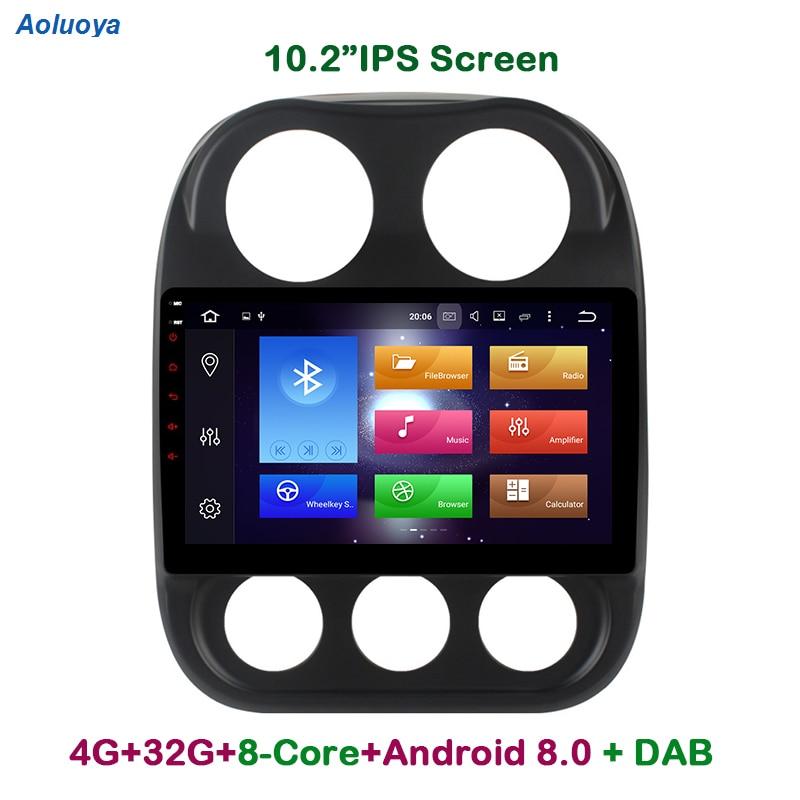Aoluoya IPS 4 GB di RAM 32 GB di ROM Octa Core Android 8.0 AUTO Lettore DVD RADIO GPS Per JEEP Compass 2010 2011 2012 2013 2014 2015 2016