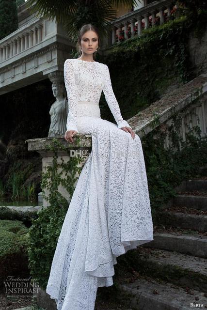 60b12bb51606 White Lace Backless Mermaid Berta Bridal Winter Long Sleeve Wedding Dresses  Wedding Gowns Pretty Bridal Wedding