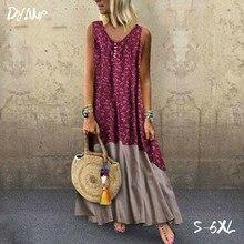 S-5XL Plus Size Women Vintage Patchwork Long Beach Dress Female Casual Loose Linen Dresses 2019 Summer Retro Boho Maxi