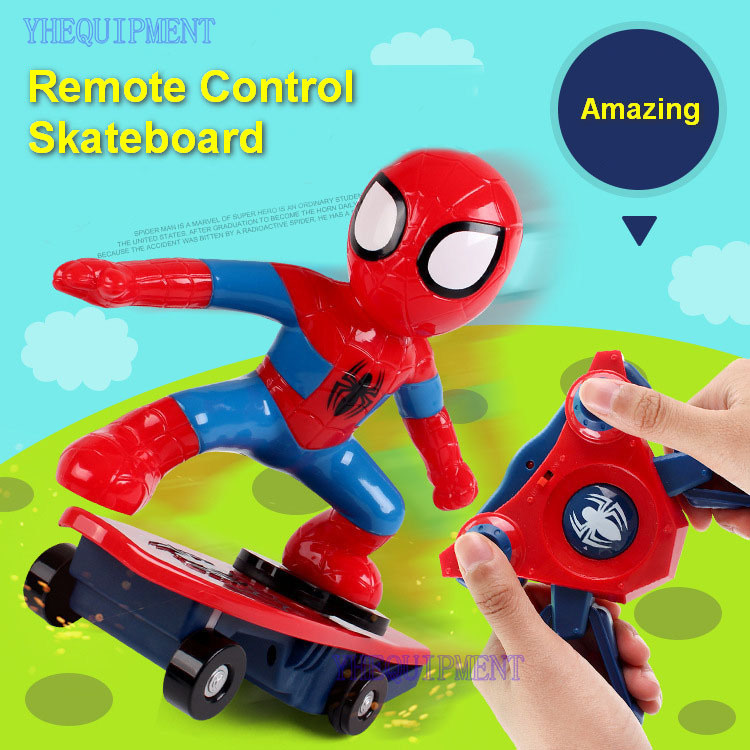 Фотография Mini rc Simulators spidereman skateboard toys for children boys gift remote control skate board stunt car