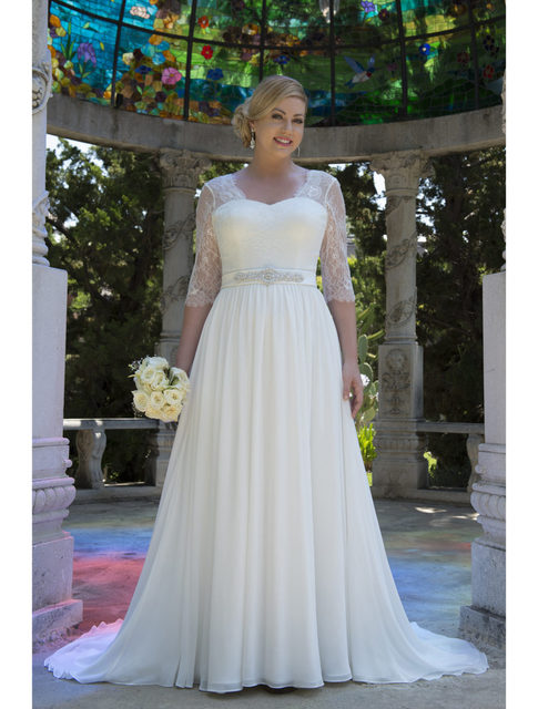 Informal Lace Chiffon Modest Plus Size Wedding Dresses With 3 4 Sleeves 2017