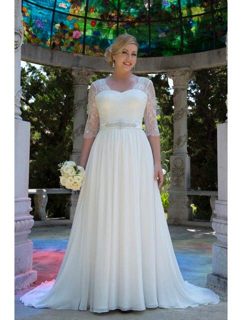 Szyfon Koronki Modest Nieformalne Plus Size Suknie ślubne Z Rękawami