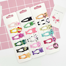 Childrens Card Cute Bow Fabric Hairpin Baby Animal BB Clip printing color princess hair Accessories Set