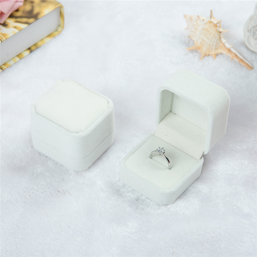 Engagement Square Velvet Ring Box Jewelry Packaging Storage Case for Wedding Ring Valentines Day Gift Organizer Jewellery Box