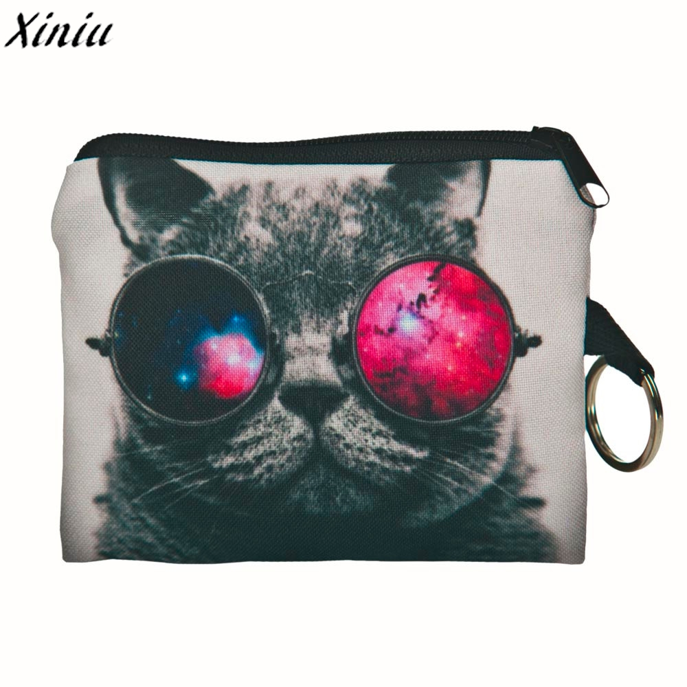 Girl coins purse Cat printing Coin Pouch Vintage change Bag Clutch wallet bags Hot Pink Monedero Mujer Para Monedas #8522