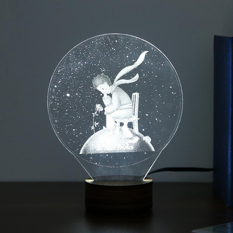 7 Design Creative 3D LED Lights USB Desk Lamp with Button Switch White Engraved creative atmosphere lights Christmas Light ...