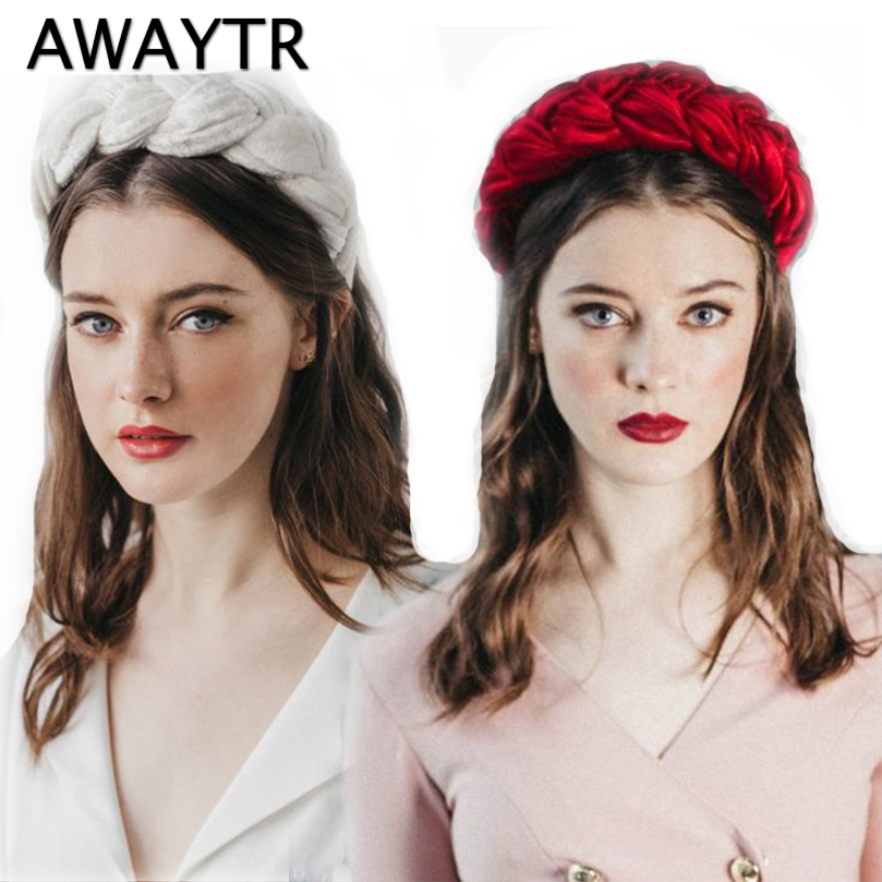 AWAYTR 2019 New Velvet Hairband For Women Ladies Headband Solid Color Braid Hair Loop Retro Headwear Female Hair Accessories