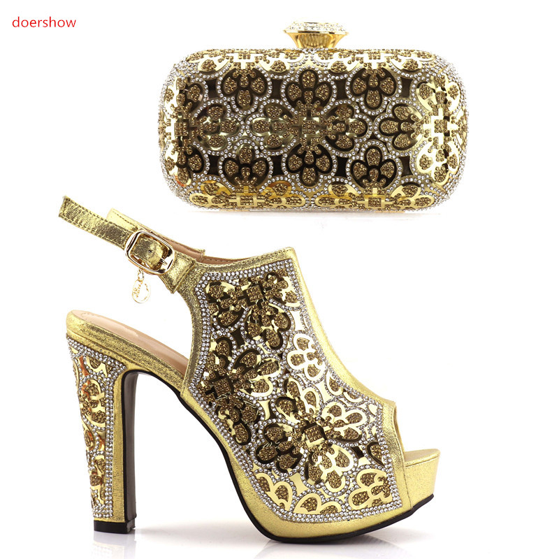 Фото doershow Nigerian Shoes and Bag Set for Women Ladies gold High Quality Matching Shoes and Bag African Shoes With Bag JJC1-6