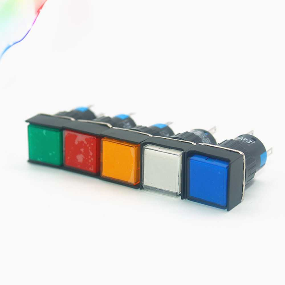 Momentary Push button Switches LA16F-11D AL6F-M Square button with light 5 pins 16MM self return