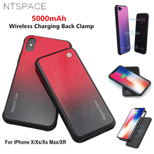 NTSPACE 5000mAh Wireless Magnetic Battery Charging Case For iPhone X Xs Max Portable Power Bank XR