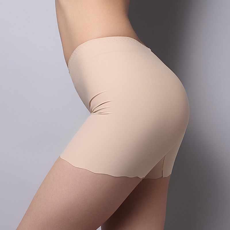 Baru Listest Wanita Mulus Es Sutra Celana Pinggang Tinggi Stretch Solid Safety Pakaian Dalam RZ01