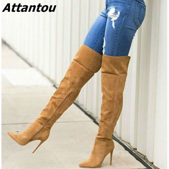 Awesome Women Chic Solid Brown Suede Knee High Stiletto Heel Boots Sexy Pointed Toe Side Zip Long Boots Pretty Girls Love Shoes jialuowei women sexy fashion shoes lace up knee high thin high heel platform thigh high boots pointed stiletto zip leather boots