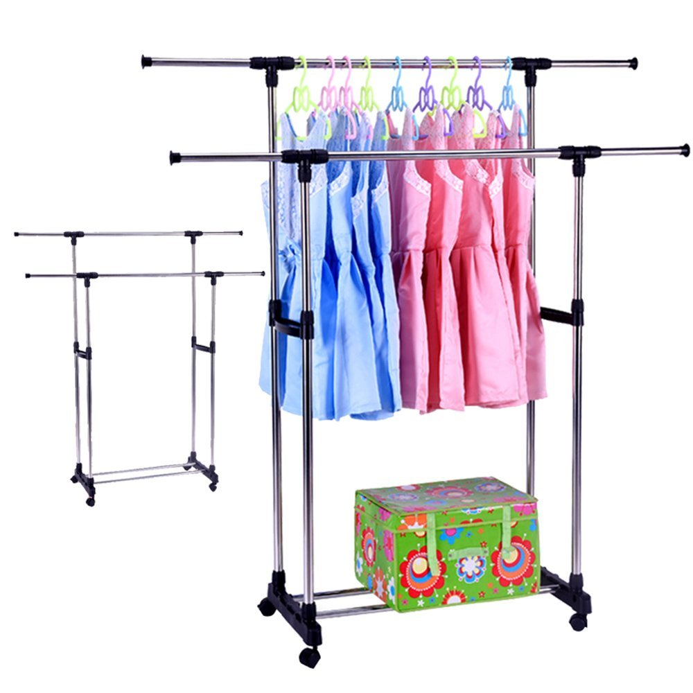 Portable Double Rods Clothes Rack Adjustable Garment With Wheels Tiers Storage Shelves