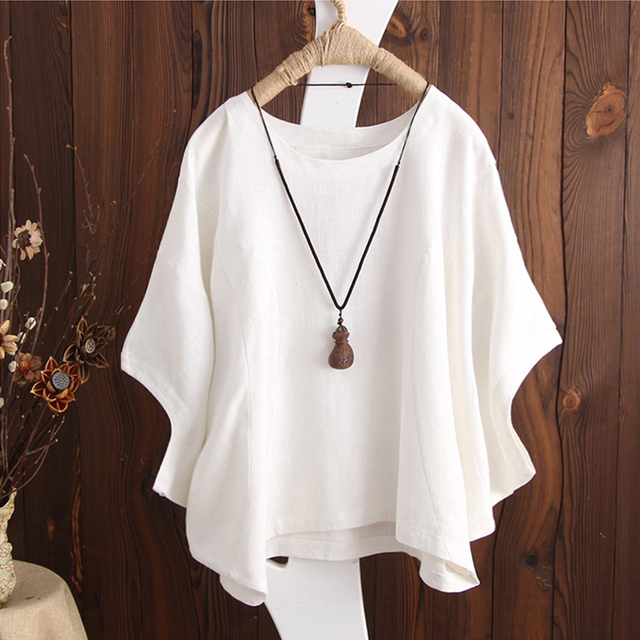 e2a49574b Women Batwing Sleeve Blouses Retro Cotton Linen Baggy Summer Tops Plus Size  Casual Loose O-Neck Ladies Tee Shirts Blusas Mujer
