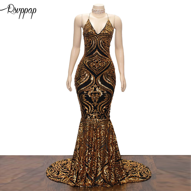 Long Sparkly   Prom     Dresses   2019 Sexy Mermaid V-neck Golden Sequin Backless African Women Black Girl   Prom     Dress