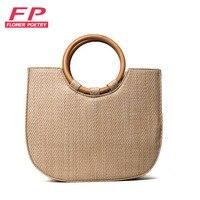 Flower Poetry 2017 New Straw Bag Shopping HandBags Women Beach Vacation Handbag Bag Round Wood handle Straw Bag bolsa feminina