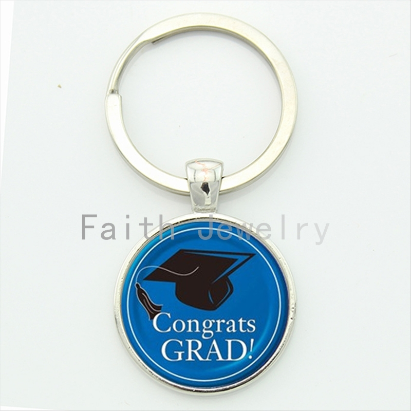 <font><b>Congrats</b></font> <font><b>grad</b></font> key chain trendy gifts for students graduate <font><b>blue</b></font> black bachelor cap pattern high school graduation keychain KC407
