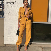 Fantoye Deep V Neck Casual Button Jumpsuit Women 2019 Roll Up Long Sleeve Slim Bodycon Bandage Mid Waist Belted Tooling Overalls