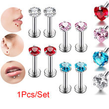 1 Pcs Women Body Piercing Jewelry Love Heart Zircon Nose Lip Piercing Studs TT@88(China)