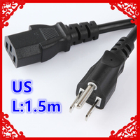 Free Shipping 1 5m Power Cord Cable US 2 Prong Laptop AC Plug Adapter Lead 2
