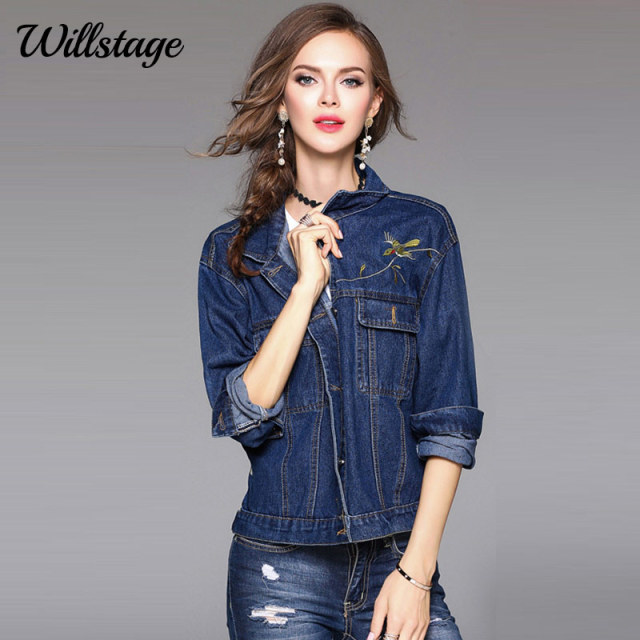 95c09f1090f Willstage Denim Jacket Women Floral Birds Embroidery Printed Jean Coats  Solid Black Tops Blue 2018 Spring Winter Casual Clothing