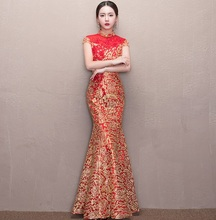 2018 New Bride Wedding Dress Women Red Chinese Qipao Fishtail Tracitional Cheongsam Party Evening Long