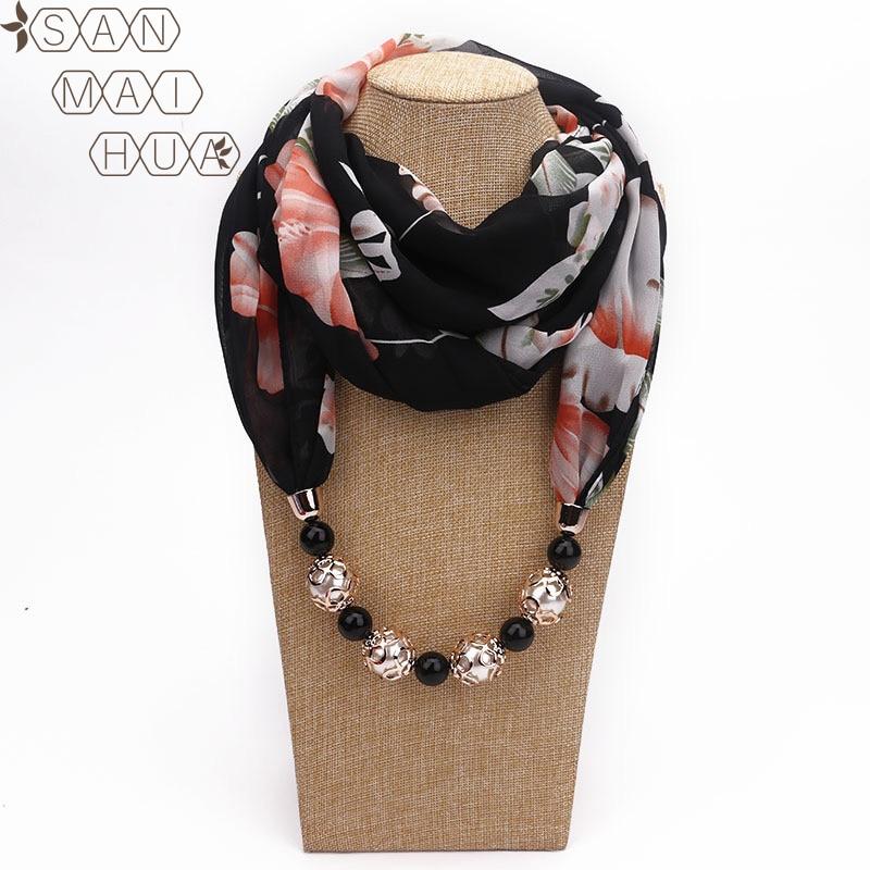 Multicolor Chiffon Print Beaded Pendant Scarf Elegant Lady Necklace Foulard Shawl Muslim Female Warm Hijab Jewelry Scarves