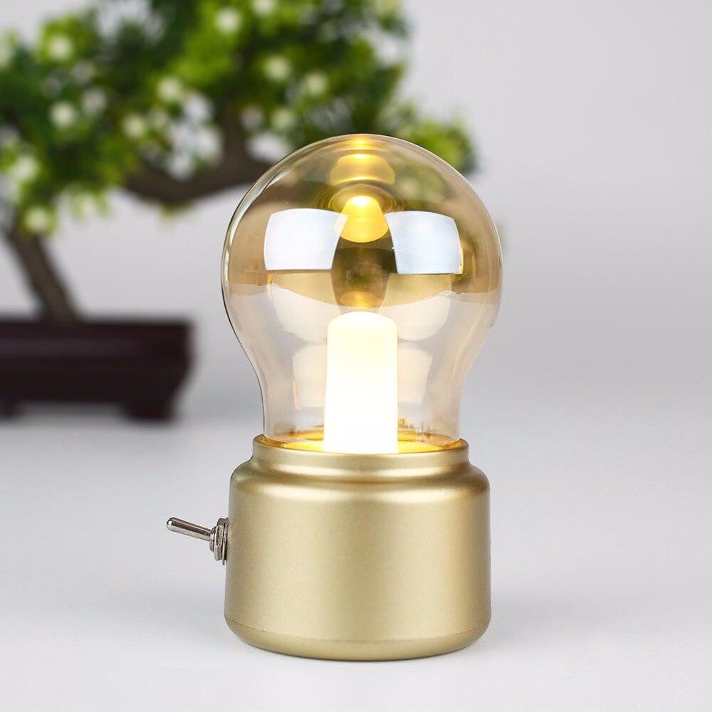 2017 Retro Buld Shape Table Lamps Decorative USB Rechargeable LED Night Light Bulb Lamp Luz de noche