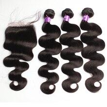 Body Wave Peruvian Human Hair Bundles With Closure Virgin Hair Bundles Lace Closure 3 Pcs Natural Color Hair Extensions CARA