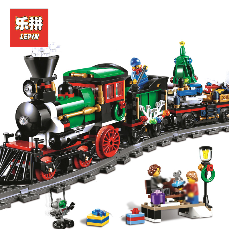 Lepin 36001 770Pcs Creative Series Christmas Winter Holiday Train model Building Blocks Bricks Children Gift LegoINGlys 10254 clone 10254 lepin 36001 creative series the christmas winter holiday train set children building blocks bricks christmas gifts