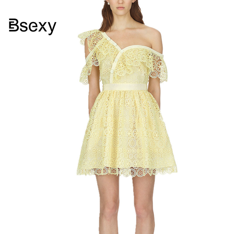 High quality Yellow dress 2018 summer women sexy one off shoulder Tunic party dress hollow out Short lace dress female