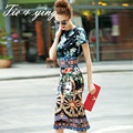 Взлетно-посадочная полоса 2015 лето женщины midi dress отпечатано О-Образным Вырезом с коротким рукавом высокого качества тонкий старинные бумажные ленты дамы бальные платья