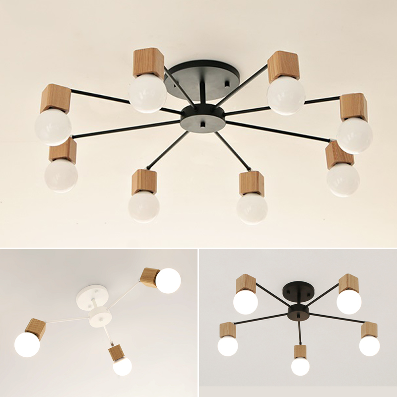 Wood Nordic Style Artistic Personality Living Room Chandeliers Ceiling Lamp Modern decorative lighting E27 AC110V-220V creative european country wood chandeliers artistic for living room decoration modern minimalist style wooden e27 pendant lamp