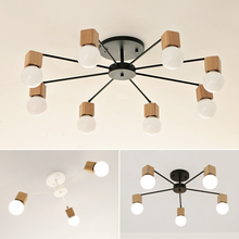 Wood Nordic Style Artistic Personality Living Room Chandeliers Ceiling Lamp Modern decorative lighting E27 AC110V-220V