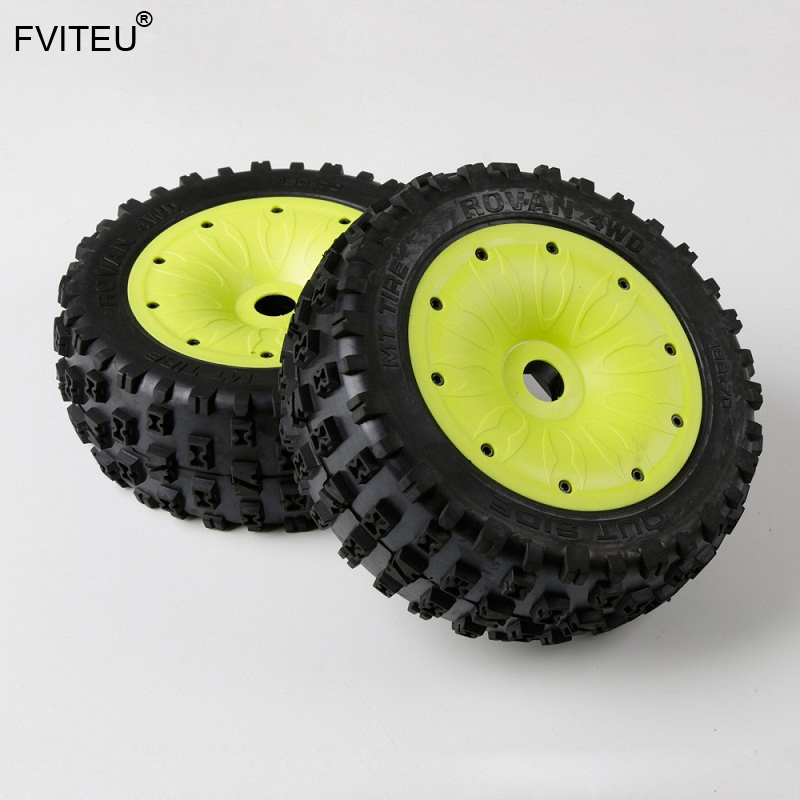 FVITEU Rubber Knobby wheel tires with sealed rim and inside cloth and waterproof foam Set For 1/5 Losi 5ive-T Rovan LT Baja 4WD FVITEU Rubber Knobby wheel tires with sealed rim and inside cloth and waterproof foam Set For 1/5 Losi 5ive-T Rovan LT Baja 4WD