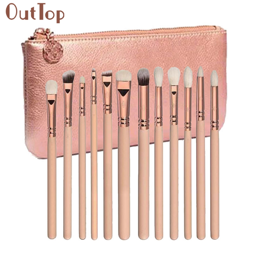 Best Deal New Fashion 12 pcs Rose Gold Makeup Brush Complete Eye Shadow Eyebrow Set Tools