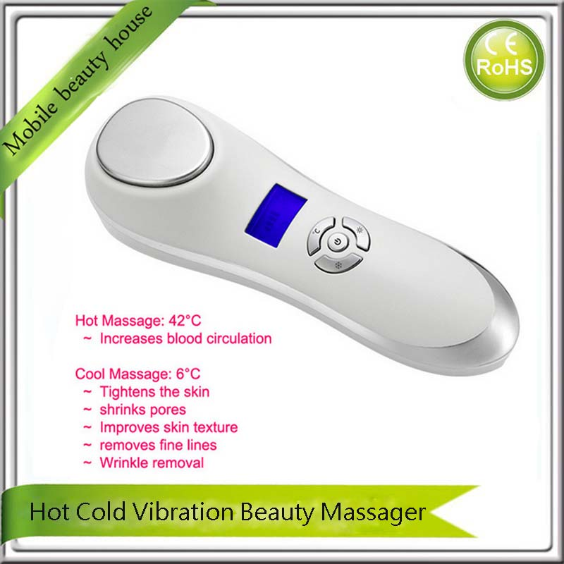 Home Beauty Spa Sonic Vibrating Hot Cold Pores Cleanser Wrinkle Remove Face Llift Skin Tightening Pore Minimizer Beauty Machine deep face cleansing brush facial cleanser 2 speeds electric face wash machine