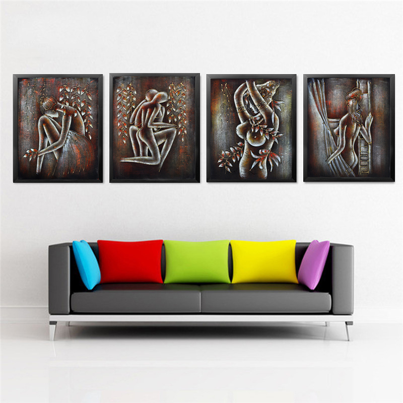 Retro nude abstract portrait fitness yoga posters art wall for Wall art pictures