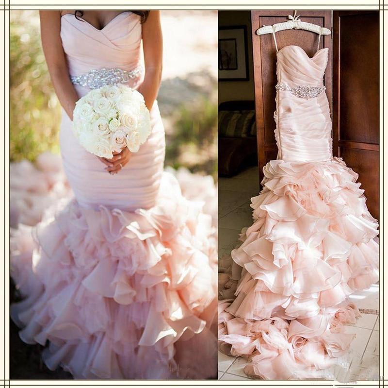 WD0911 Pink 2018 Wedding Dress Organza Mermaid Bridal Gowns Custom Made Beaded Crystal Ruffles Sweep Train Robe De Mariage