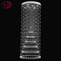 Luxury Modern Crystal Chandelier For Home Dia80 H200cm Large Hotal Hall Hanging Crystal Light Stair LED